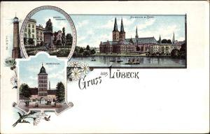 Litho Lübeck in Schleswig Holstein, Geibeldenkmal, Museum, Dom, Burgtor