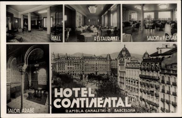 Ak Barcelona Katalonien, Hotel Continental, Hall, Restaurant, Salon ...