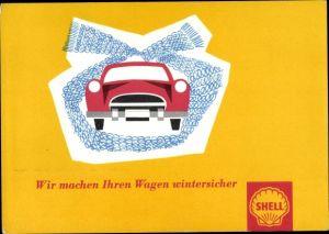 Künstler Ak Wir machen Ihren Wagen wintersicher, Shell Reklame