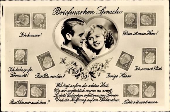 Briefmarken Ak Briefmarkensprache, Liebespaar, Theodor Heuss, Amag 70325