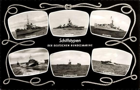 Ak Deutsche Kriegsschiffe, Schiffstypen der Bundesmarine, Geleitboot, Zerstörer, Korvette