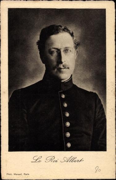 Ak König Albert I von Belgien, Portrait, Uniform