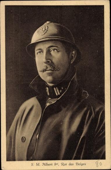Künstler Ak König Albert I von Belgien, Portrait, Uniform