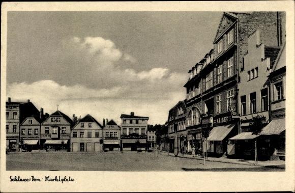 Ak Sławno Schlawe Pommern, Marktplatz
