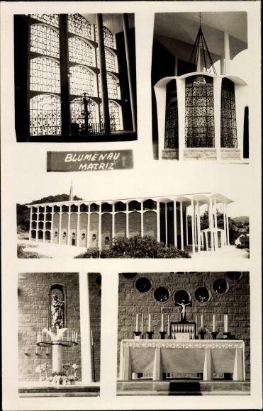 Foto Ak Blumenau Matriz Brasilien, Kirche, Altar, Fenster