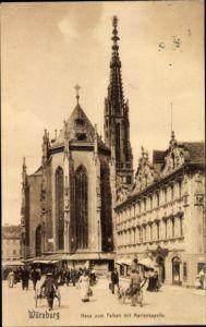 Ak Würzburg am Main Unterfranken, Haus zum Falken mit Marienkapelle