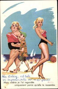 Künstler Ak Mann mit dicker Frau am Strand, dünne Frau in gleichem Badeanzug