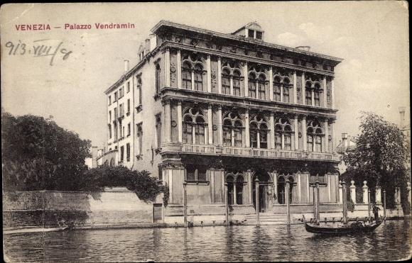 Ak Venezia Venedig Veneto, Palazzo Vendramin, Gondel