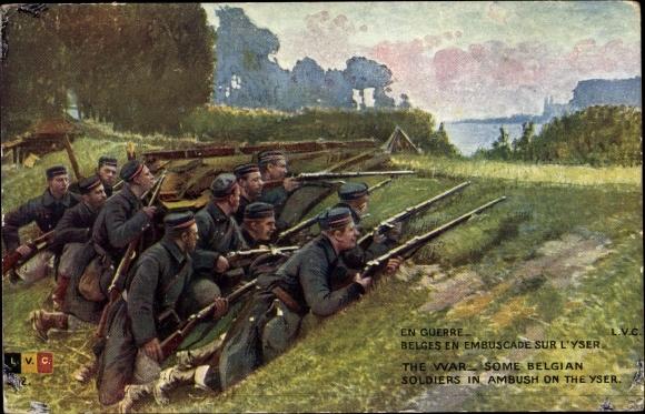 Künstler Ak En Guerre, Belges embuscade sur l'Yser, I. WK