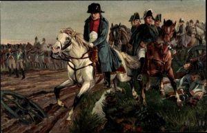 Künstler Ak Aus großer Zeit, Napoleon Bonaparte, Kaiser Napoleon I., nach der Schlacht bei Leipzig