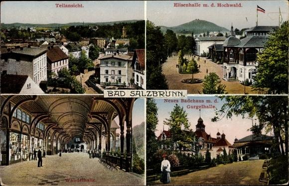 Ak Szczawno Zdrój Bad Salzbrunn Schlesien, Teilansicht vom Ort, Elisenhalle, Wandelhalle, Badehaus