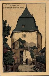 Steindruck Ak Simmern im Rhein Hunsrück Kreis, Schinderhannes Turm