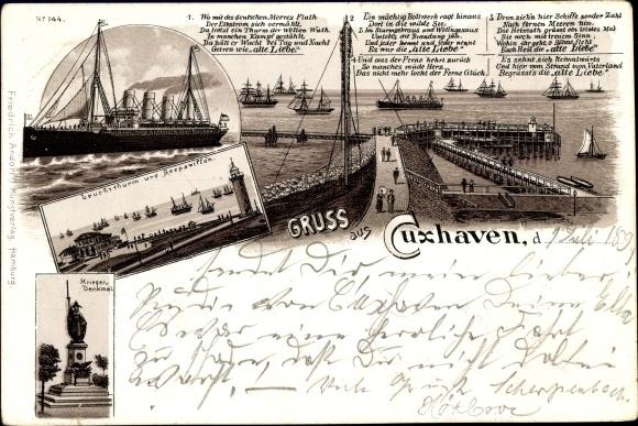 Litho Cuxhaven in Niedersachsen, Alte Liebe, Leuchtturm, Seepavillon, Kriegerdenkmal