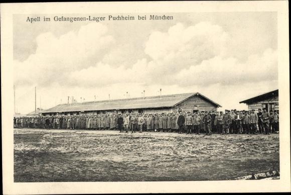 Ak Puchheim in Oberbayern, Apell im Gefangenenlager, Kriegsgefangene