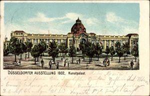 Ak Düsseldorf am Rhein, Ausstellung 1902, Kunstpalast, Außenansicht, Menschen
