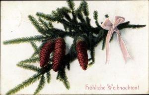 Ak Glückwunsch Weihnachten, Tannenzapfen und rosa Schleife an einem Tannenzweig