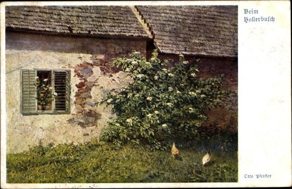 Künstler Ak Pfeiffer, Otto, Beim Hollerbusch, Bauernhaus, Hühner, Deutscher Schulverein Nr. 888