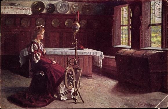 Künstler Ak Panitzsch, Robert, Gretchen am Spinnrad, Meistergalerie No. 4784