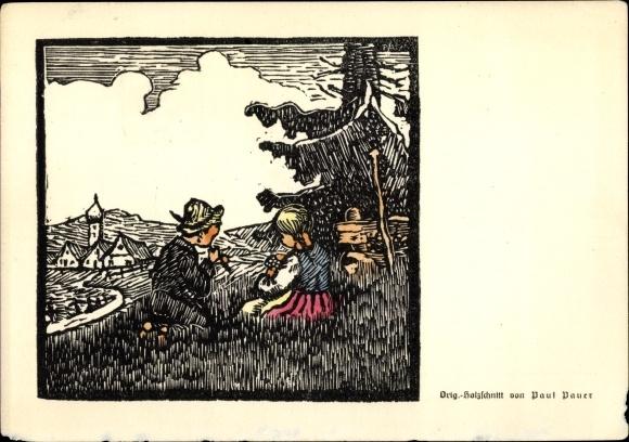 Künstler Ak Pauer Paul, Holzschnitt, Junge und Mädchen auf einer Wiese