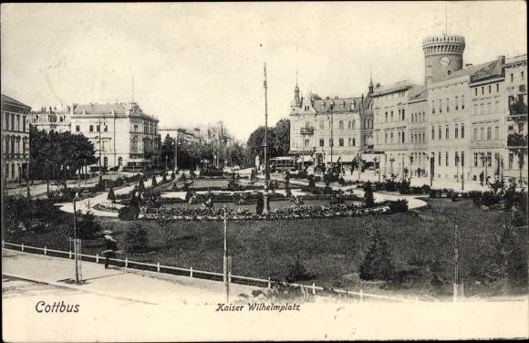 Ak Cottbus Brandenburg, Kaiser Wilhelm Platz, Grünanlage