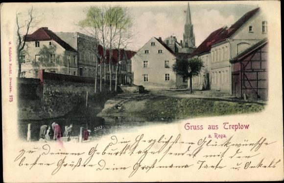 Ak Trzebiatów Treptow an der Rega Pommern, Kirche, Wohnhäuser