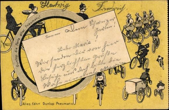 Künstler Ak Dunlop Pneumatic, Fahrradreifen, Reklame