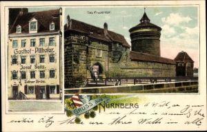 Ak Nürnberg, Gasthof Pillhofer, Inh. Josef Seitz, Frauentor, Rundturm