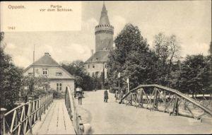 Ak Opole Oppeln Schlesien, Schloss, Brücke, Passanten