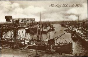 Ak Hamburg Mitte Steinwerder, Partie im Kuhwerder Hafen, Dampfschiffe, Hafenkran