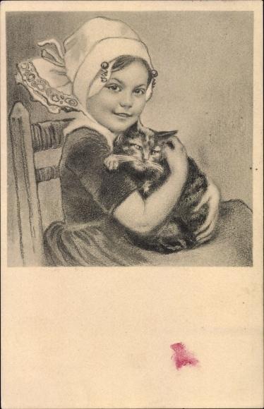 Künstler Ak Mädchen in Wiener Tracht m. Hauskatze, Portrait, Zeichnung, M. Munk 296