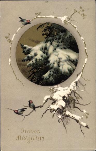 Präge Passepartout Gold Ak Glückwunsch Neujahr, Tannenbaum, Schnee, Ast, Vögel