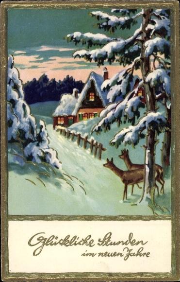Präge Gold Ak Glückwunsch Neujahr, Rehe, Haus, Schneelandschaft