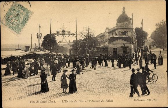 Ak Saint Cloud Hauts de Seine, Fete de Saint Cloud, L'Entree du Parc et l'Avenue du Palais