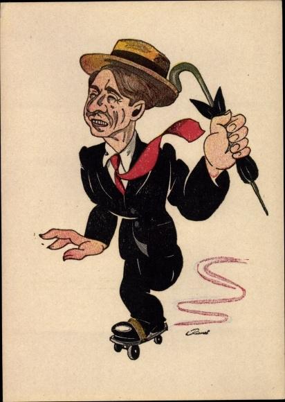 Künstler Ak Eberhard, Schauspieler Paul Kemp, Portrait auf Rollschuhen, Karikatur