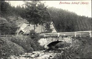 Ak St. Andreasberg Braunlage im Harz, Forsthaus Schluft, Außenansicht, Brücke, Harz