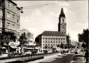 Ak Berlin Schöneberg Friedenau, Rheinstraße und Rathaus, Autos, Menschen, Klinke & Co. B 172