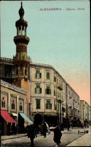 Ak Alexandria Ägypten, Attarine Street, Minarett, Läden