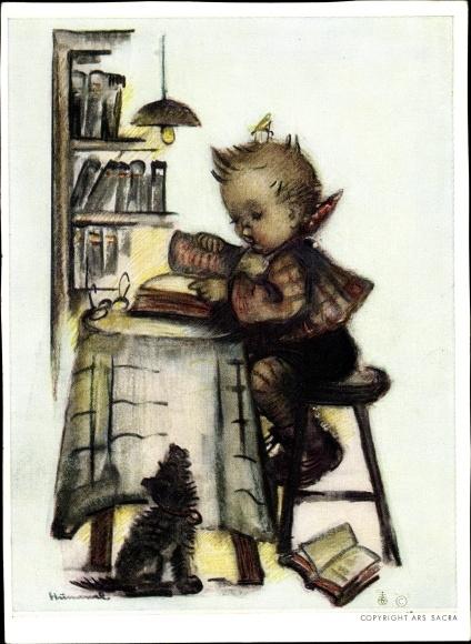 Künstler Ak Hummel, Berta, Junge, Hund, Bücher, Nr. 5439