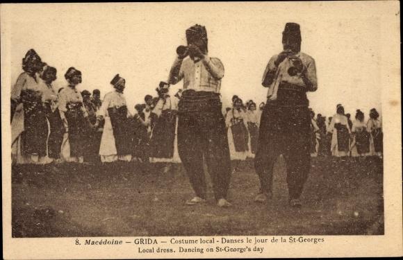 Ak Grida Mazedonien, Trachten, Männer mit Instrumenten, Tanz, St. Georgstag