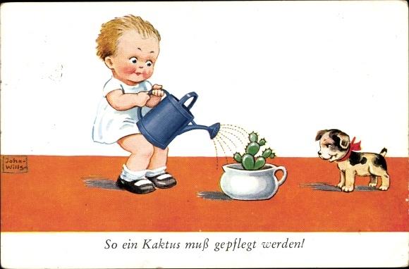 Künstler Ak Wills, John, Kaktus, Kind, Gießkanne, Hund