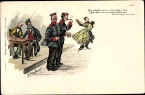 Künstler Litho Kleinhempel, Soldaten bei einem Bier und beim Tanzen, Bruno Bürger 597