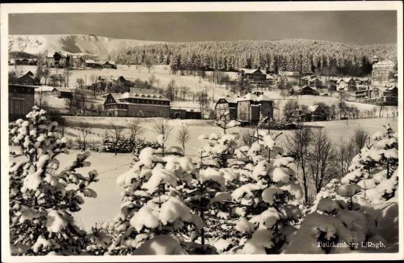 Ak Brückenberg b. Krummhübel Schlesien, Hotel Rübezahl, Winterpartie
