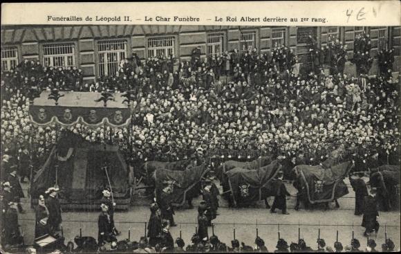 Ak Bruxelles Brüssel, Funerailles de Leopold II, Begräbnis König Leopold II. von Belgien, Albert I.