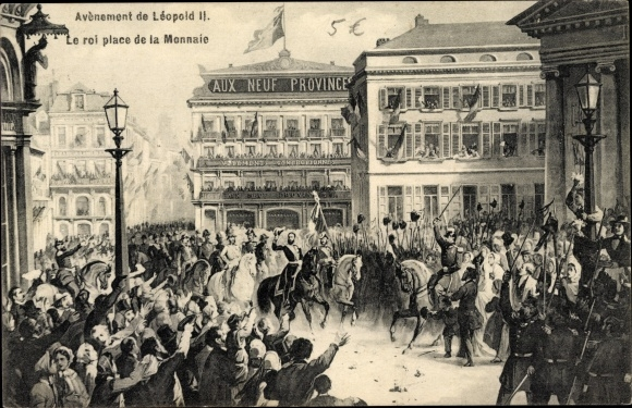 Künstler Ak Bruxelles Brüssel, Thronbesteigung König Leopold II. von Belgien, place de la Monnaie