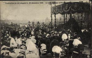 Ak Bruxelles Brüssel, Funerailles du roi Leopold II, Begräbnis König Leopold II. von Belgien 1909