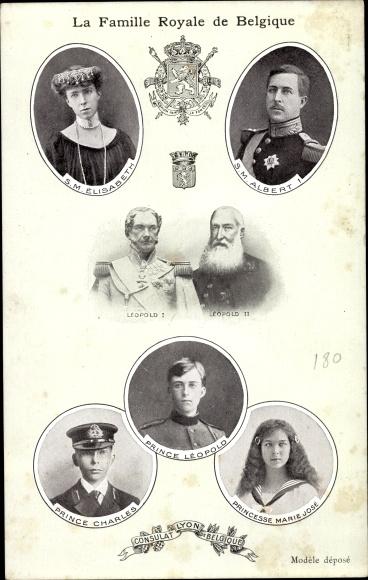 Ak König Albert I. von Belgien, Königin Elisabeth, Leopold I, Leopold II, Prinz Leopold, Charles