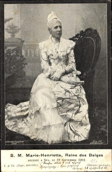 Ak Königin Marie Henriette von Belgien, 1902