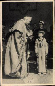 Ak Prinz Baudouin von Belgien, Kardinal Van Roey
