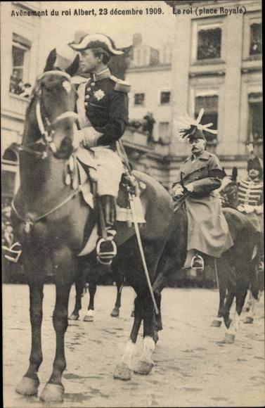 Ak Bruxelles Brüssel, Place Royal, Thronbesteigung König Albert I. von Belgien, 1909