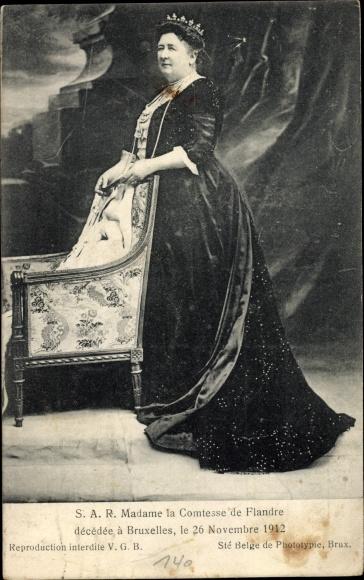 Ak Madame la Comtesse de Flandre, Maria Luise von Hohenzollern Sigmaringen, Prinzessin v. Belgien